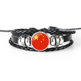 Bead Wholesalers China UK - 2019 Hot Sale Fashion Women Men China National Flag World Cup Football Fan Time Gem Glass Cabochon Bracelet Black Leather Rope Beads Jewelry