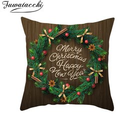 $enCountryForm.capitalKeyWord Australia - Fuwatacchi Wood Grain Christmas Pillow Case Mat Cover Pillowcase Polyester Sofa Chair Decorative Pillow Wood Grain Cotton Plant