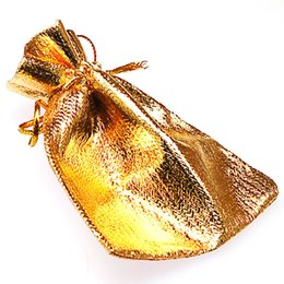 "gold drawstring pouch UK - Gold silver Drawstring Pouches Jewelry Gift Bags 7x9 CM(2 6 8""x3 4 8""),Velvet Bags Oganza Gifts Bag"