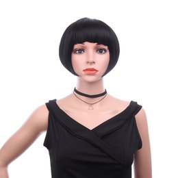 $enCountryForm.capitalKeyWord UK - Fashion Hot Female Bob Head Solid Color Short Straight Hair Chemical Fiber High Temperature Silk Wig Set