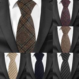 7cm neckties 2019 - New Wool Ties Skinny Woolen Necktie For Men Suits Mens Plaid Striped Neck Tie For Business Cravats 7cm Width Groom Neckt