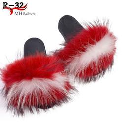 $enCountryForm.capitalKeyWord Australia - 2019 New Color Raccoon Hair Slippers EVA Fox Fur Slippers Female Summer Word Drag Sandals Home Beach Shoes Female Slide