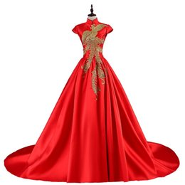 Backless Wedding Dress Designers UK - Modern Chinese Evening Dresses Long Traditional Embroidery Dress Red Backless Designer Qipao Wedding Cheongsam Robe Chinoise