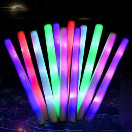 Foam Party Glow Sticks Australia - LED Light Glow Stick Flashing Light Up LED Foam Sticks Solid Rainbow Color LED Sponge Stick For Concert Wedding Birthday Xmas Party A21601