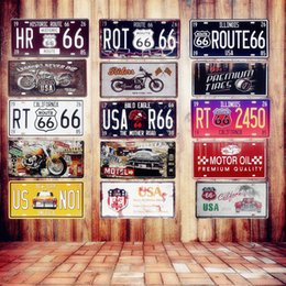 Discount car plaque - USA Vintage Metal Wall Sticker Tin Signs Route 66 Car Number Plaque Poster Bar Club Home Decor Wall Art Painting Garage