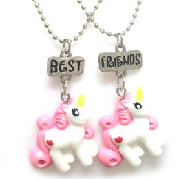 $enCountryForm.capitalKeyWord Australia - Best Friends Pony Unicorn Necklace Resin Unicorn Figures Couple Necklaces Summer Fashion Jewelry for Women Kids Toy DROP SHIP 380015