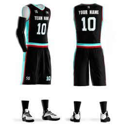 Short Basketball Jerseys Canada - Custom Men Youth Basketball Sets High Quality 2018 Sleeveless Sports Tank Top and Shorts Suit Black Male Basketball Jerseys Sets