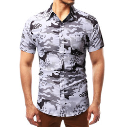 bbc57cb176 Mens Patterned Shirts Australia - 2019 Summer Fashion Mens Shirt Slim Fit  Short Sleeve Camouflage pattern