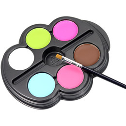 Painting Glitter Temporary Australia - Wholesale DHL Body Paint 6 Colors Eye Paint Palette UV Glowing Face Painting Temporary Tattoo Pigment Multicolor Series Body Eyeshadow Art
