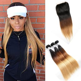 Discount ombre hair bundles closure tones - Malaysian Human Hair 1B 4 27 Ombre Hair Straight Virgin Hair 1B 4 27 Three Tones 3 Bundles With 4X4 Lace Closure Middle