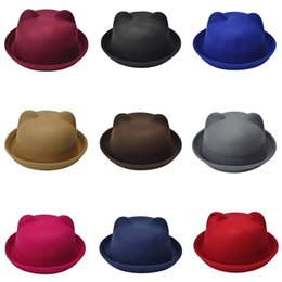 956db87d45fdc Fashion Parent-child Bowler Hat Woollen Felt Hats for Women Girl Children  Solid Cat Ear Formal Cap Sombrero 2019 Hot Sale 9Color