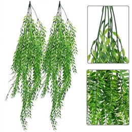 hanging basket fake plants Australia - 5 Forks Green Hanging Plant Artificial Plant Willow Fake Leaves Wall Home Garden Balcony Flower Basket Decoration Dropshipping