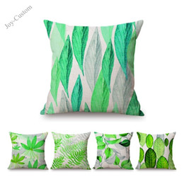 watercolor pillow cushion covers Australia - Watercolor Painting Summer Green Leaves Home Decorative Sofa Throw Pillow Case Plants Palm Leaf Cotton Linen Car Cushion Cover