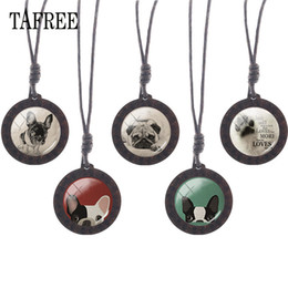 pet dog glasses NZ - TAFREE Vintage Pug Poodle Wooden Necklace Glass Animal Pet Dog Image Charms Choker Wood Pendant Rope Chains Jewelry A113