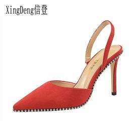 Designs Dress Australia - XingDeng Women Rivets Pointed Toe High Heels Sandals Shoes Lady Flock Summer Design Party Dress Sandals Shoes Thin Heels
