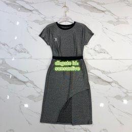 Gray Mid Length Dress Australia - High End Wome Jogging Two Piece Dress Tops T-Shirt Tee Shirt With Letter Print+Midi Irregular Skirt Casual Runway Jersey Tee Shirt Sets