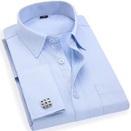 $enCountryForm.capitalKeyWord NZ - Men 's French Cufflinks Business Dress Shirts Long Sleeves White Blue Twill Asian Size S, M, L, Xl, Xxl, 3xl, 4xl, 5xl, 6xl Q190514