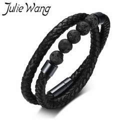 JulieWang Stainless Steel 44cm Volcanic Stone Microfiber Leather Double Circle Black Rope Natural Health Style Men's Best Gift