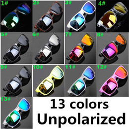 Wholesale 13 colors summer men brand sunglasses women reflective coating sun glass cycling sports dazzling color new eyeglasses