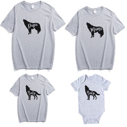couple family t shirts 2019 - Family Couple Clothes T-Shirt Letter Animal Printing Casual Round Neck T-Shirt Family Matching Outfit Summer Active Tops