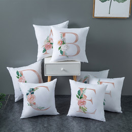 rose white cover Australia - Christmas gift Nordic Decorative Cushion Cover White pink Rose 26 English Letters Pillow Cover Hotel Cafe Car Seat Pillowcase