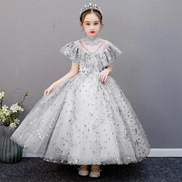 preppy clothing Australia - Flower Girls Dress Kids Girl Gray Sequin Runway Dresses Princess Birthday Party Wedding Dress Vestidos 2020 Children Clothing S659