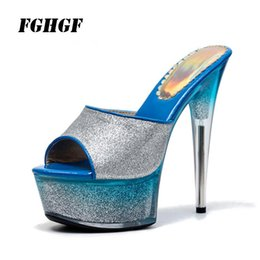 $enCountryForm.capitalKeyWord Australia - 17 cm 15 cm sexy high heels Flash bright leather pole dance model catwalk show fun super high with sandals size 35-43