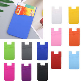 Discount double phone pouch - Double-deck Silicone Wallet Card Cash Pocket Sticker 3M Adhesive Stick-on ID Holder Pouch For iPhone Samsung Huawei Xiao