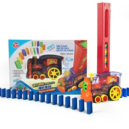 domino game toys NZ - Domino Train 80pcs Dominoes Games Kids Toy Automatic Laying Car Dominoes Set Colorful Plastic Dominoes Blocks Educational Toys T200413