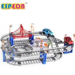 diy car toys NZ - Railway Tracks Car Toys DIY Flexible Bend Magical Track Road Kit Flash Light Rail Car Assembly Toys Gifts For Children 78-312PCS