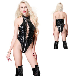 sexy erotische dessous pvc großhandel-Sexy Frauen PVC Leder Sleeveless Bodysuit Erotic Low Cut Schnürung Trikot Dessous Halter Backless Pole Dance Clubewear
