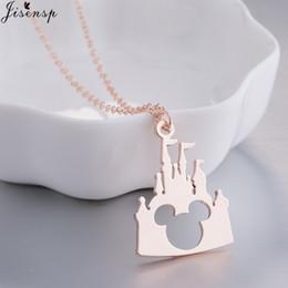 a78973960d Jisensp Bijoux 2018 moda Mickey Head collar encantador cadena larga  castillo collares colgantes mujeres joyería declaración regalos de los niños