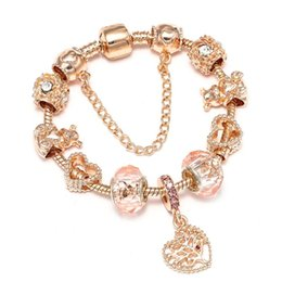 StainleSS Steel bear jewelry wholeSale online shopping - 2019 New Popular Exquisite Rose Gold Lady Crystal Bead Bracelet Cute Bear Bead Heart Pendant Jewelry Girl Fashion Bracelet Gift