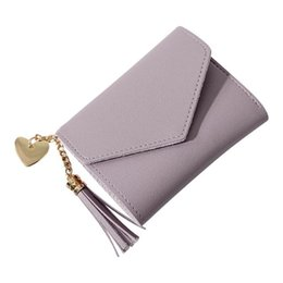 $enCountryForm.capitalKeyWord Australia - Women Fashion Mini Short Standard Wallets Heart Shape Simple Elegant Tassel Pendant Coin Purse Clutch Pocket Hand Bag Wallet Bag