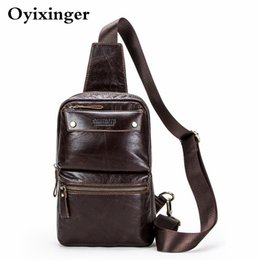 men cowhide chest bags Australia - New Men's Genuine Leather Chest Bag Man Famous Brand Male Single Shoulder Cowhide Bags High Quality Mobile Wallet Shoulder Bag