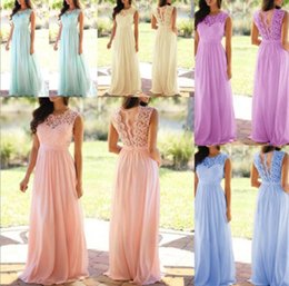 $enCountryForm.capitalKeyWord Australia - Blush Pink Mint Dark Navy Lace Chiffon Bridesmaid Dress 2019 Sheer Neck Lace Top Zipper Back Maid of Honor Wedding Guest Dresses Customize
