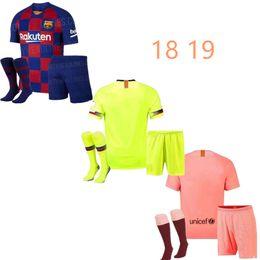 90480b65e19 19 20 new Barcelona Kids soccer Jersey 2019 MESSI SUAREZ COUTINHO Camisas  Blue Dembele home football shirt 18 19 Child BOYS Kit+Socks