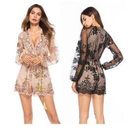 $enCountryForm.capitalKeyWord Australia - Women's Glitter Sexy Deep V Neck Sequin Beaded Long Sleeve Bodycon Mini Nightclub Party Jumpsuit Ladies Summer Club Suit