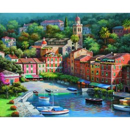 $enCountryForm.capitalKeyWord Australia - Landscapes paintings Mediterranean by Sung Kim Puzzle Italian Village Harbor hand painted canvas art High quality