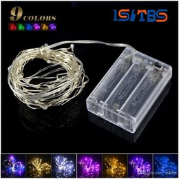 moon string lights NZ - 2m 5m LED strip light 3pcs AA Battery Powered RGB Copper Wire Holiday String lighting For Fairy Christmas Trees Party home light