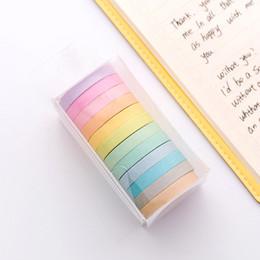 Lace stationery online shopping - 6 Set Color Washi Tape Scrapbooking Decoration Lace mm Rainbow Masking Tapes Adhesive Stationery Papelaria Escolar