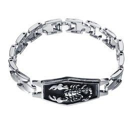 $enCountryForm.capitalKeyWord UK - Stainless Steel Scorpion Charm Bracelets Men Punk Style Metal Man Bracelets Bangles Wristband Homme Jewelry Gift