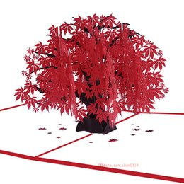 Manufacturers Supply Stereo Greeting Cards Maple Tree Birthday Wish Card Creative Gift Red Leaf 3D Custom Wholesale