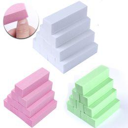 White Sanding Block Australia - 10 Pcs Pink Green White Sanding Sponge Nail Buffers Files Block Grinding Polishing Manicure Nail Art Tool