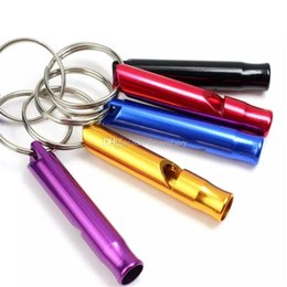 Wholesale Mini Aluminum Whistle Dogs For Training With Keychain Key Ring Outdoor Survival Emergency Exploring cc421