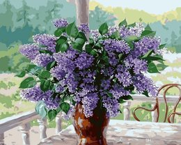 Paintings Vases Australia - 16x20 inches Vintage DIY Lavender Flowers in Vase by the Window Scenery Paint by numbers Kit Art Acrylic Oil painting on Canvas