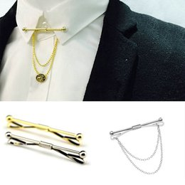 Tie Pin Shirts Australia - Gold silver Chain Ball Head Men's Business Tie Collar Pin Brooch Tie Stick Lapen Pin Shirt with Collar Bars Jewelry Wedding tie ciips-P