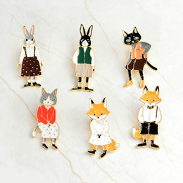 wholesale fox jewelry NZ - brooches Rabbit Fox Cat couple enamel pin Badges Hat Backpack Accessories Lovers jewelry Gift for lover Denim jacket brooch