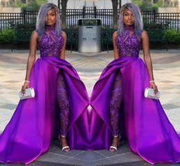 $enCountryForm.capitalKeyWord Australia - 2019 Classic Jumpsuits Prom Dresses With Detachable Train High Neck Lace Appliqued Bead Evening Gowns Luxury African Party Women Pant Suits