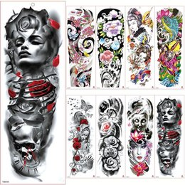 $enCountryForm.capitalKeyWord UK - 48*17cm Full Flower Arm Tattoo Sticker 40models Fish Peacock Lotus Temporary Body paint Water Transfer fake Tatoo sleeve for Men Women